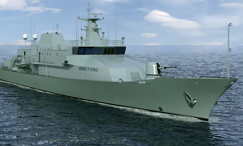 Generic rendering of offshore patrol vessel (OPV) VARD 7 090 in water