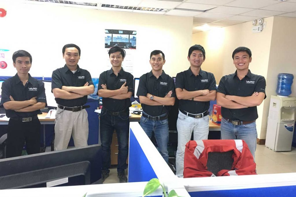 Vard Marine Vung Tau's six employees posing in the Vietnam office, careers