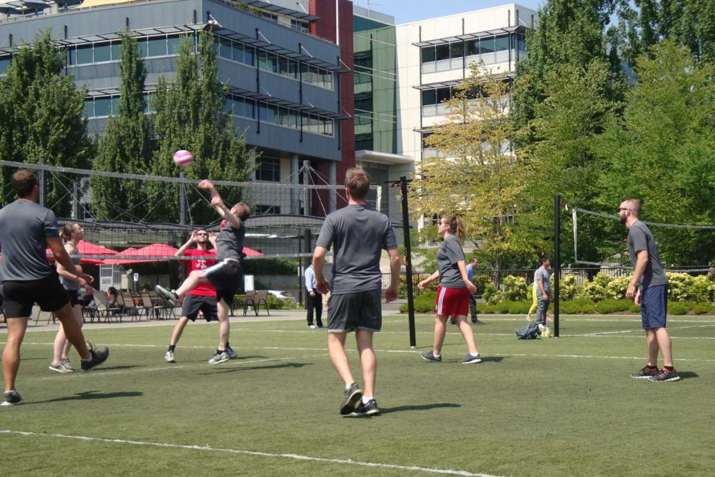 Vard Marine Vancouver playing volleyball at Broadway Tech office, careers