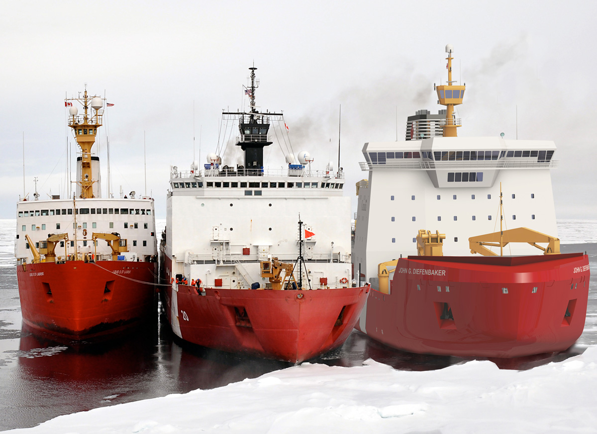 CCGS Louis S. St-Laurent, USCGC Healy, and CCGS John G. Diefenbaker (VARD 9 206) icebreakers docked near ice