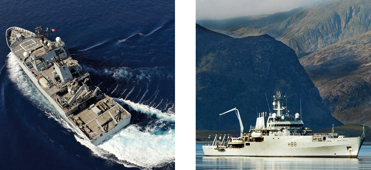 VARD 9 105 HMS Echo (H87) and Enterprise (H88) Hydrographic/Oceanographic Survey Vessels in water