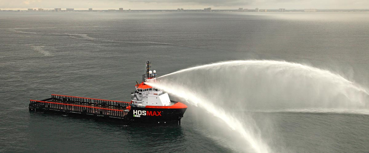 Platform Supply Vessel PSV VARD 1 300 HOS Bayou Hornbeck performing water salute