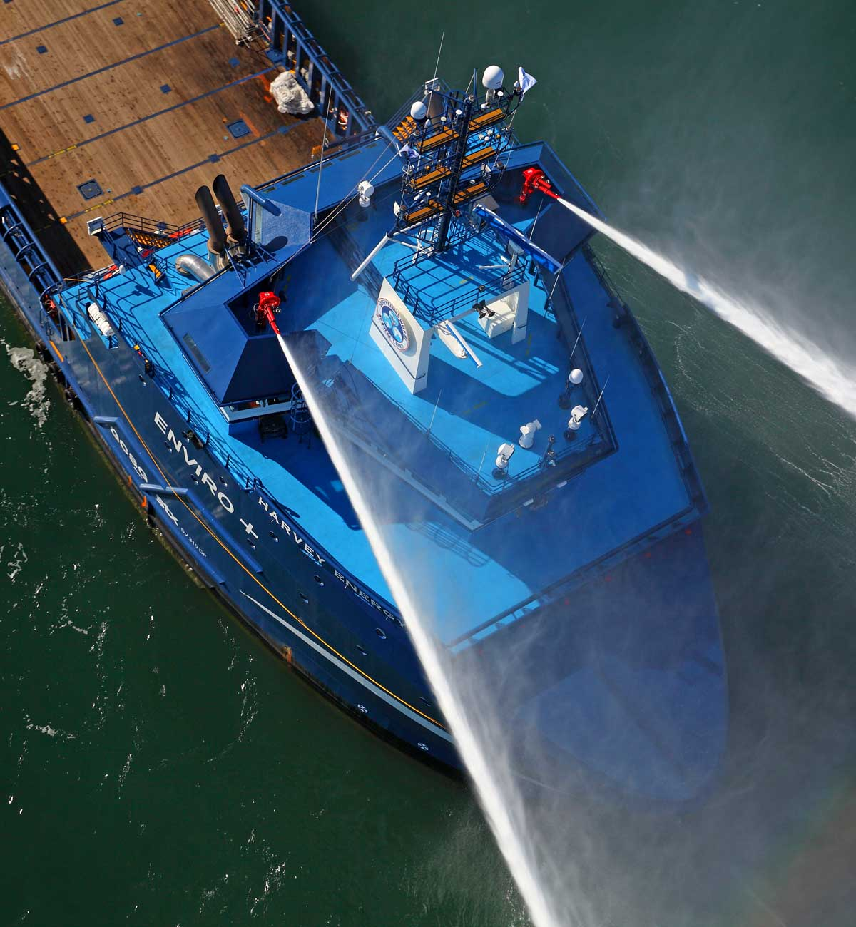 Platform Supply Vessel VARD 1 311 Harvey Energy aerial shot of bow view