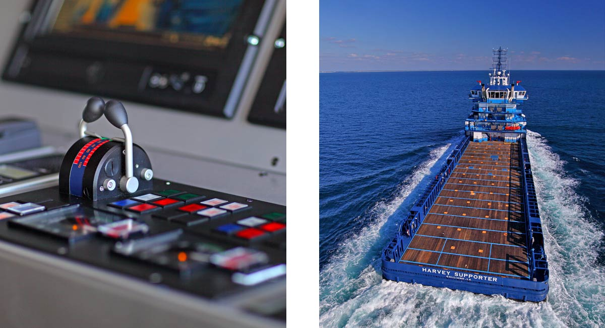 Platform Supply Vessel (interior) switchboard and aerial stern view of Harvey Supporter VARD 1 300 sailing with waves