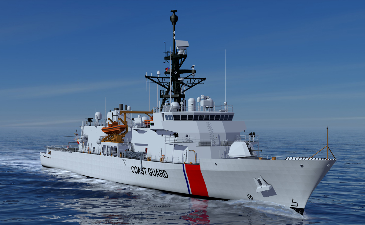 Rendering of Offshore Patrol Cutter (OPC) VARD 7 110 for the Canadian Coast Guard in water