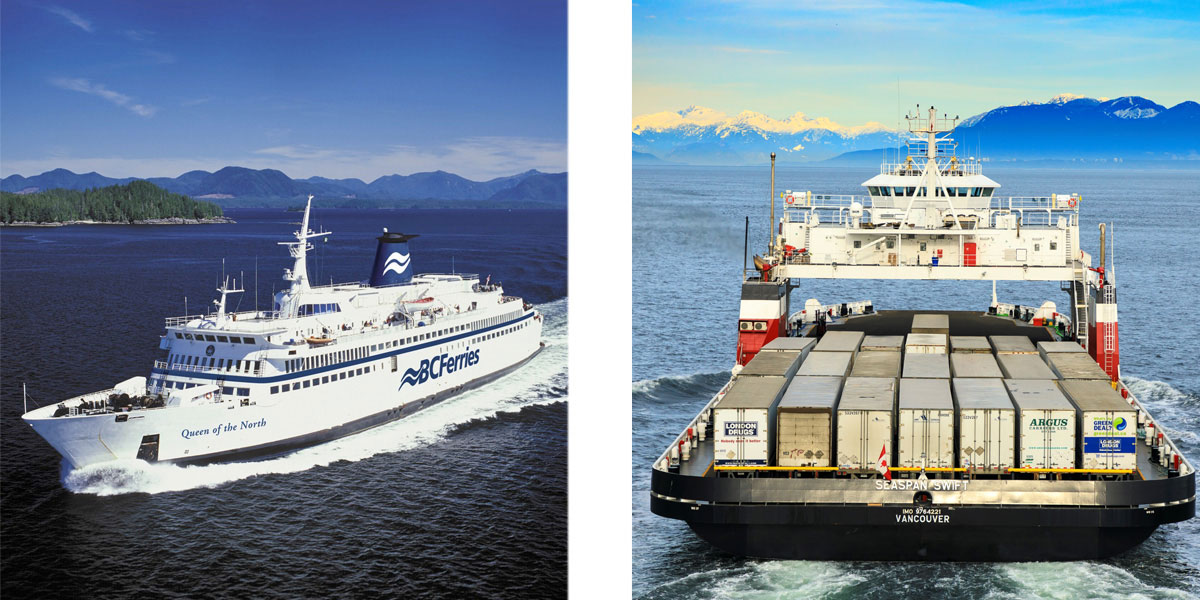 BC Ferries Queen of the North design by Vard Marine sailing past an island and Seaspan Swift VARD 9 304 carrying cargo sailing towards mountains
