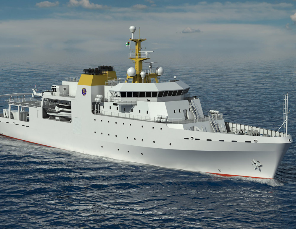 Rendering of specialized vessel - VARD 9 105 Hydrographic/Oceanographic Survey vessel for Southern African Shipyards in water