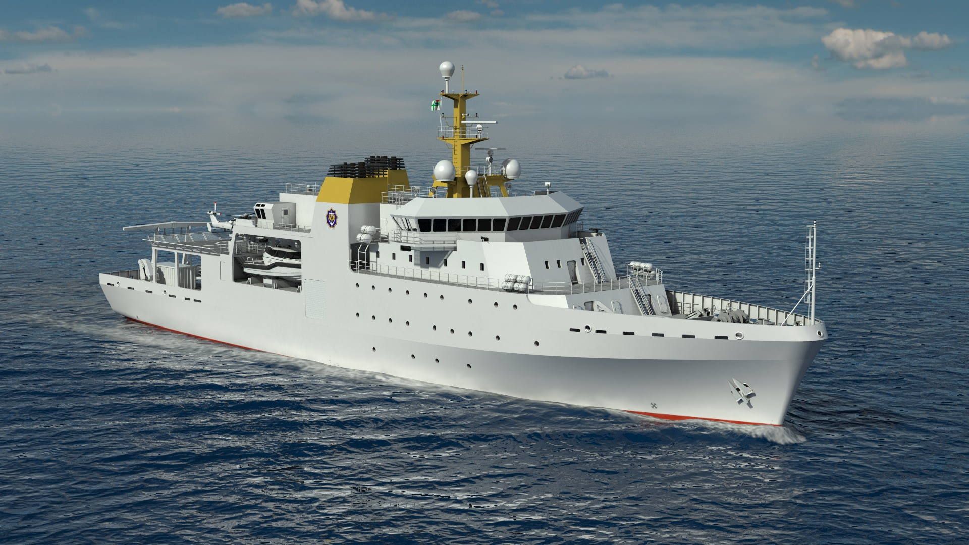 VARD 9 105 Hydrographic Survey Vessel for South African Navy render in perspective starboard view