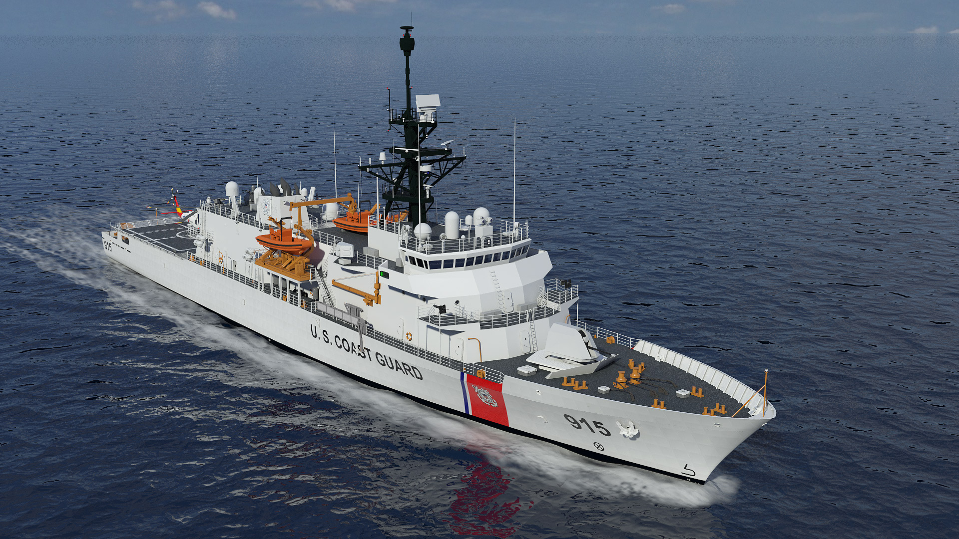 Offshore Patrol Cutter VARD 7 110 Canadian Coast Guard rendering in perspective starboard view
