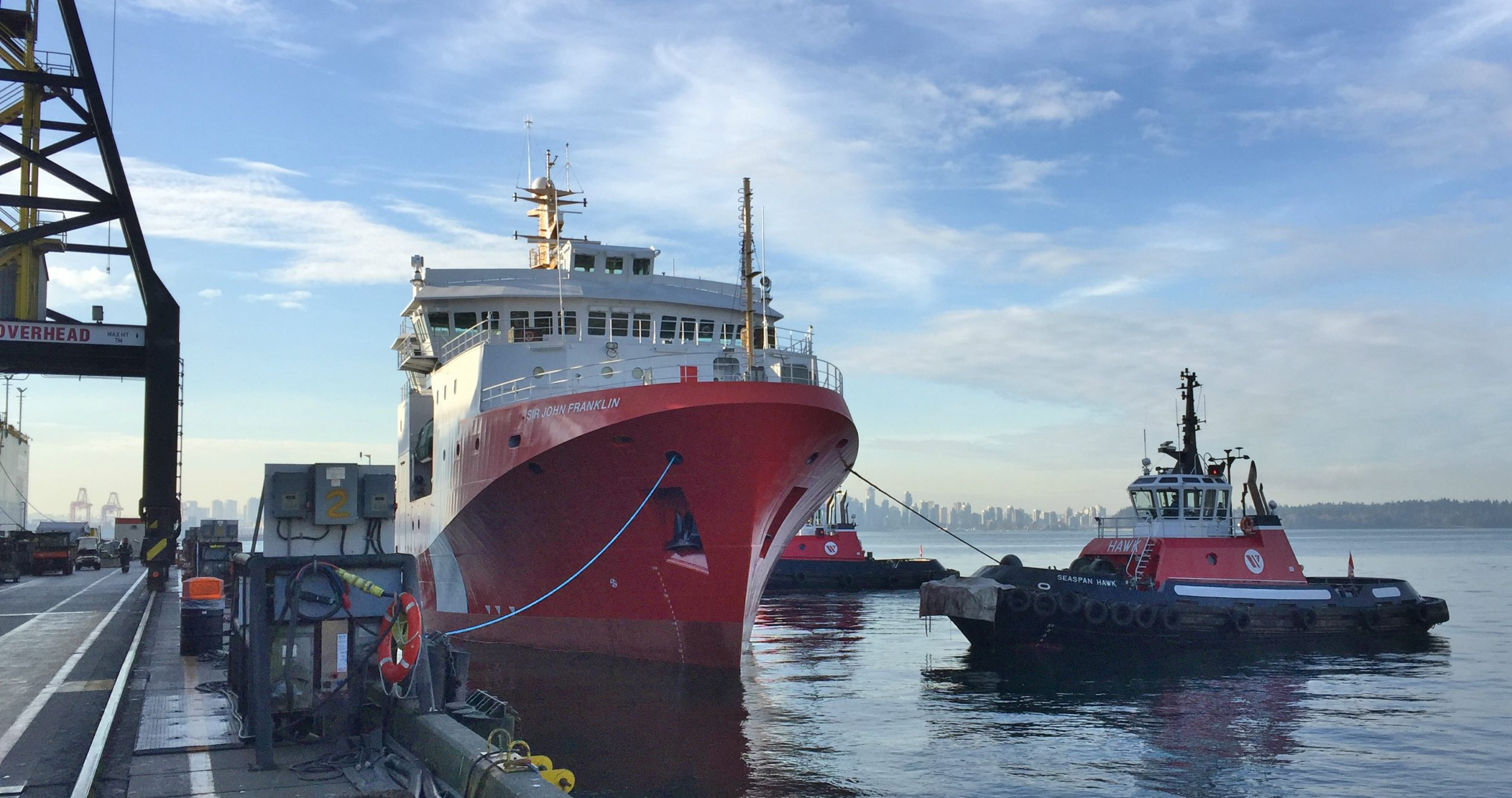 Offshore Fisheries Science Vessel (OFSV), Sir John Franklin launching at Seaspan Shipyards