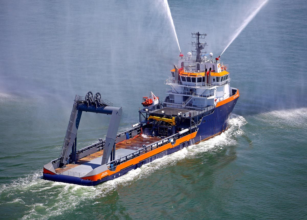VARD 2 270 Keith Cowan Anchor Handler AHV performing water salute