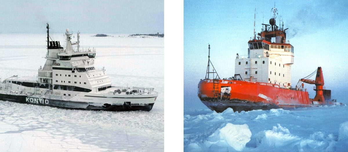Starboard view of Kontio icebreaker in Finland and port side view of Canmar Kigoriak in ice