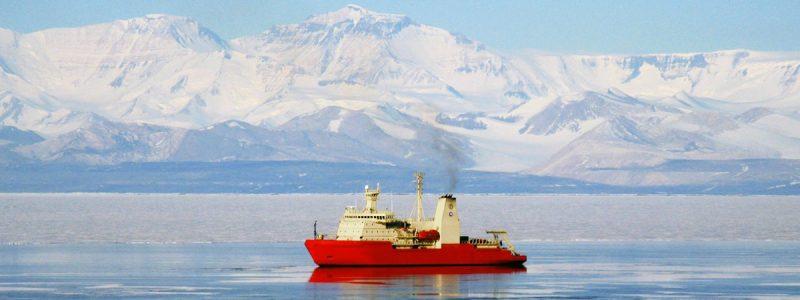 Nathaniel B. Palmer icebreaker research vessel in McMurdo Sound Antarctica