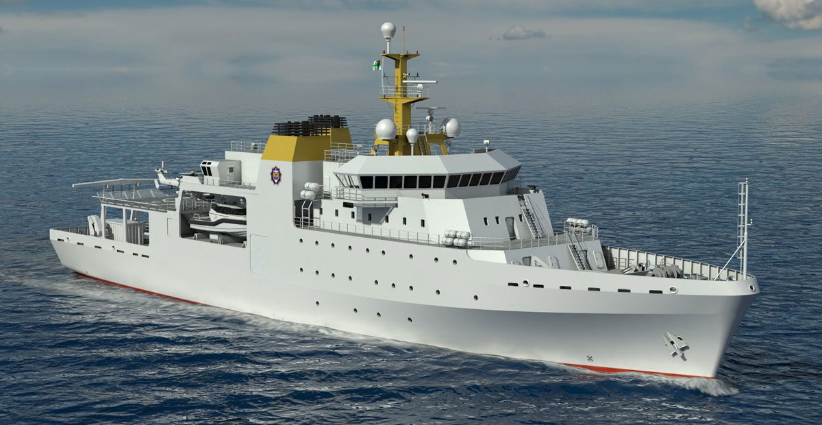 Rendering of VARD 9 105 Hydrographic/Oceanographic Survey vessel for Southern African Shipyards in water