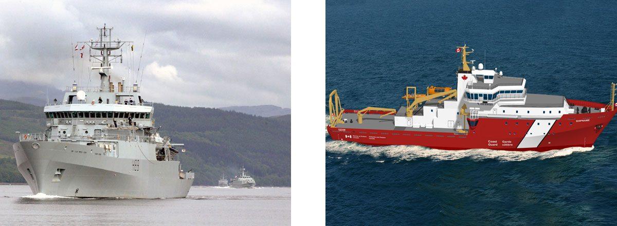 VARD 9 105 HMS Enterprise (H88) in water and rendering of VARD 9 109 CCGS Offshore Oceanographic Science Vessel (OOSV) in calm waters