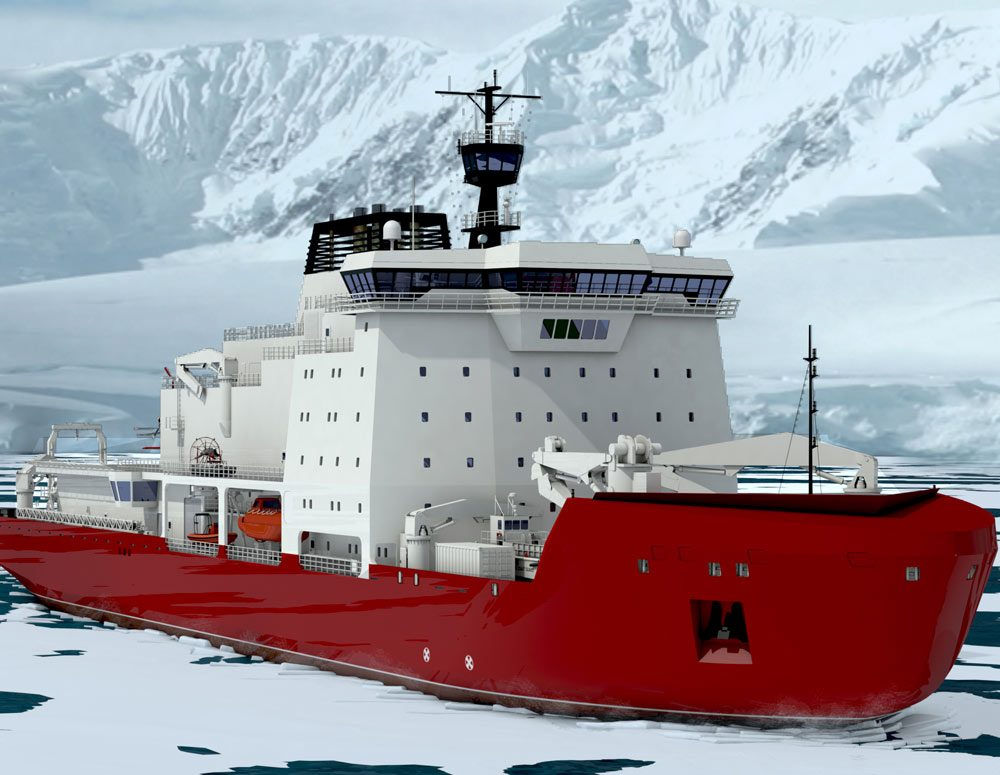 Generic rendering of VARD 9 206 polar icebreaker research vessel moving past ice and snowy mountains
