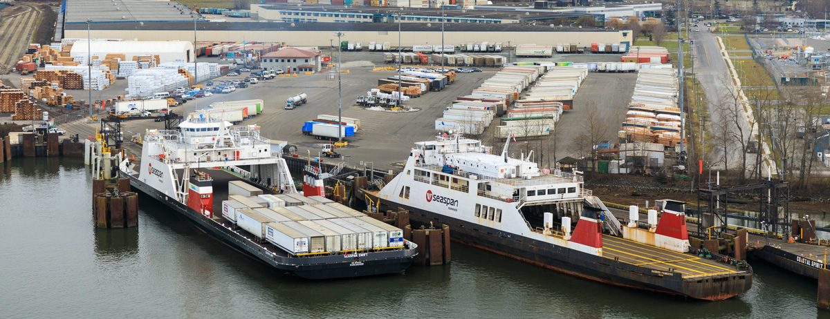 Seaspan Swift and Reliant VARD 6 515 trailer ferries docking and unloading trailers at port
