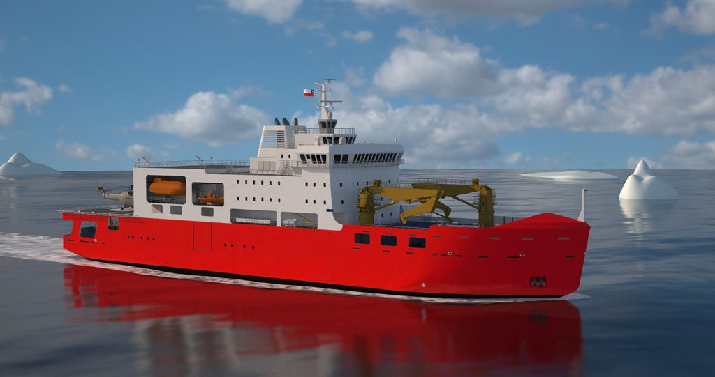 Rendering of VARD 9 203 Chilean Navy Polar Icebreaker moving through ice-infested waters in the Antarctic