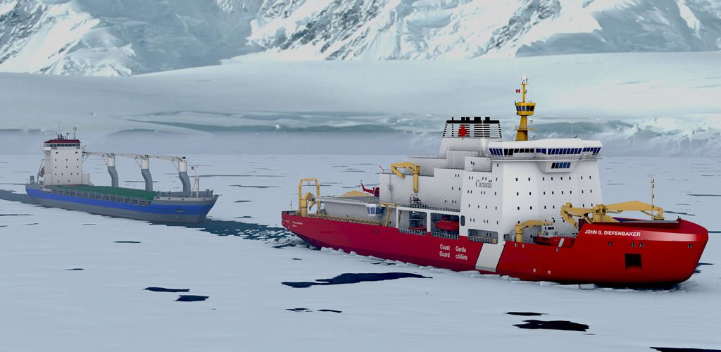 Rendering of the VARD 9 206 Canadian Polar Icebreaker Diefenbaker in ice-infested waters