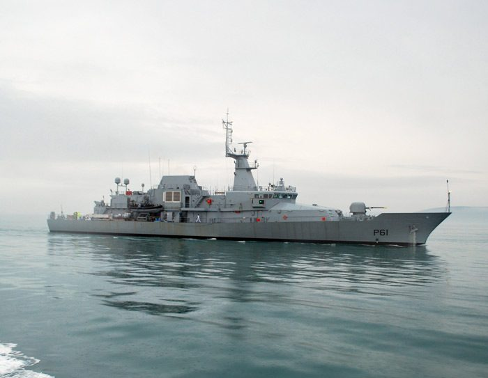 VARD 7 090 LÉ Samuel Beckett Offshore Patrol Vessel OPV profile view in calm waters