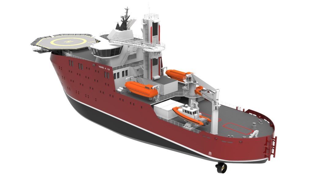 Generic rendering of VARD 4 19 windfarm service operations vessel