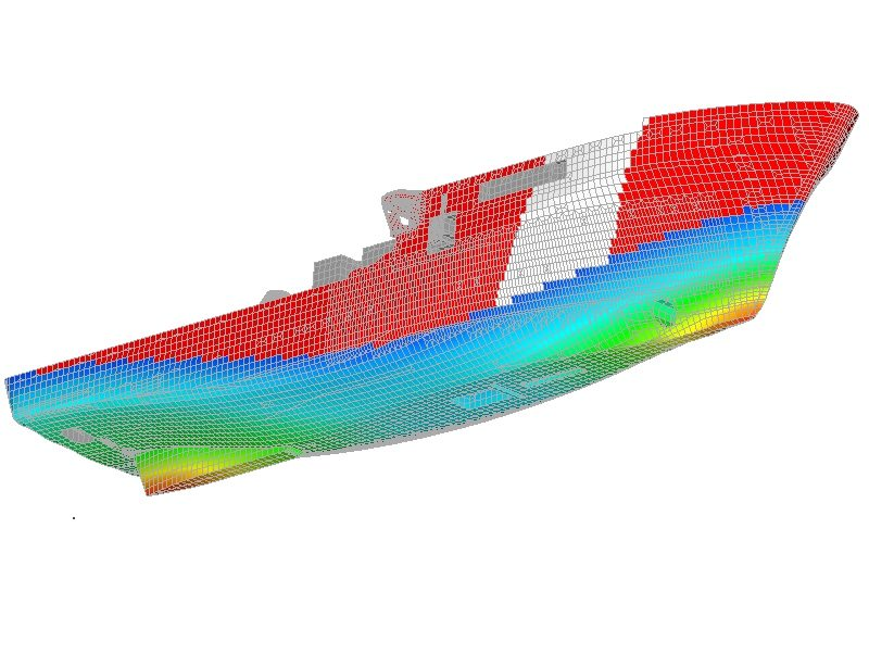 Finite Element Analysis - external View of Canadian Coast Guard Vessel with wave profile.