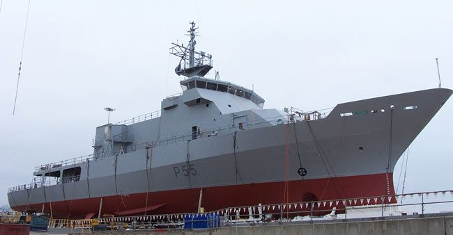 HMNZS Wellington P55 OPV ship design by Vard Marine at launching ceremony starboard view