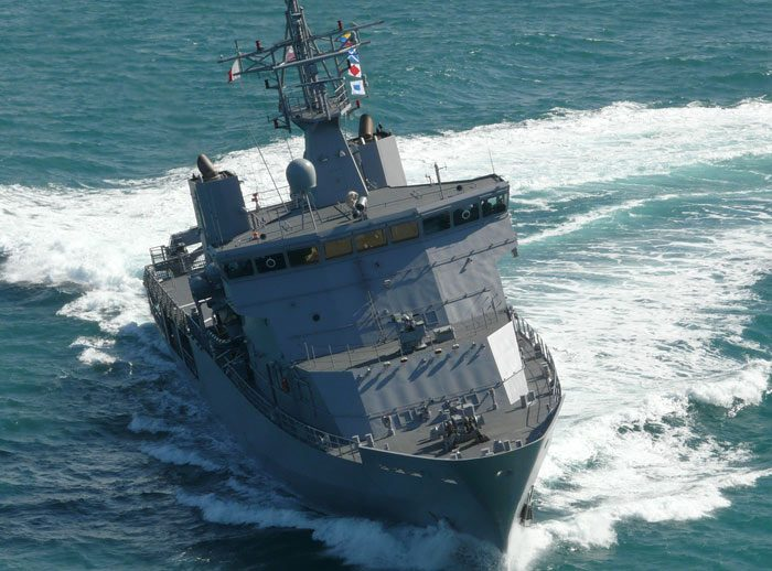 VARD 7 085 HMNZS Wellington RNZN OPV on sea trials - aerial bow view