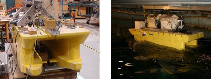 Two images of ship model testing of CSS Wind Farm Support Vessel resistance and  self-propulsion testing