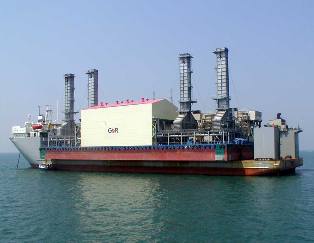 GMR's specialized vessel - Tanir Bavi Floating Power Plant in transit on ship