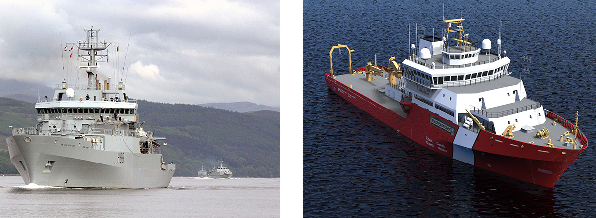 Port side view of VARD 9 105 HMS Enterprise research vessel at sea and rendering of VARD 9 109 Offshore Oceanographic Science vessel