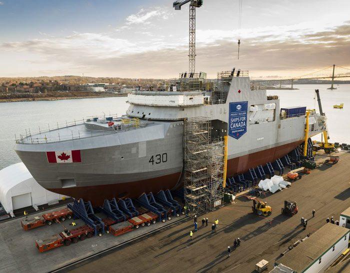 Harry DeWolf Offshore Patrol Vessel under construction at shipyard