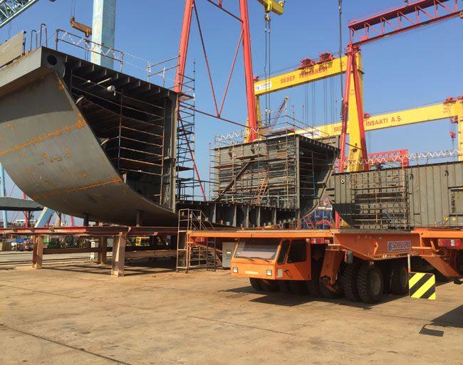 Offshore Patrol Vessel under construction at shipyard designed by Vard Marine