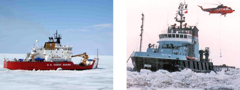 USCGC Mackinaw and Arctic Ivik icebreakers breaking ice with helicopter deployed near Arctic Ivik