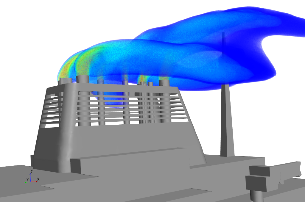 computational fluid dynamics (CFD) close up of exhaust pipes of Polar vessel