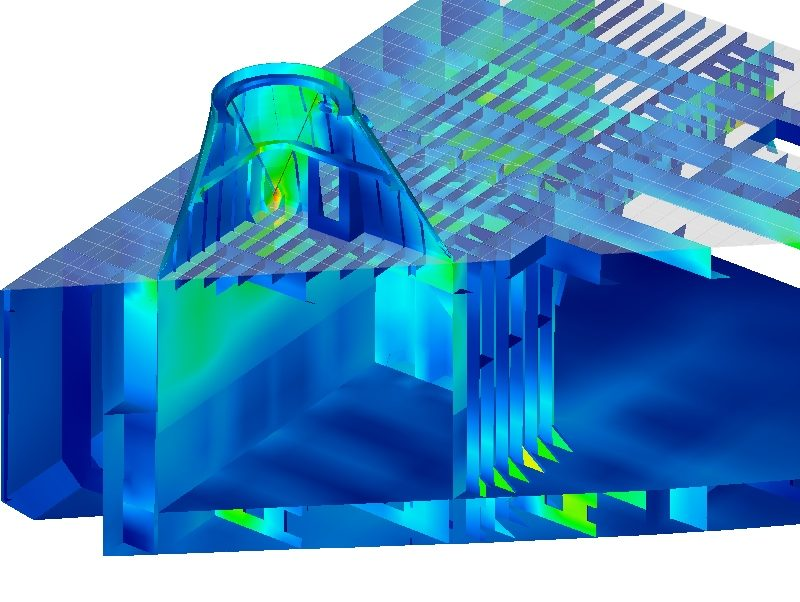 Cross-section view showing stress results within and below a crane foundation, Finite Element Analysis (FEA)