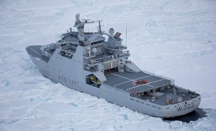 NoCGV Svalbard (W303) Icebreaker/Offshore Patrol Vessel port side aft view moving through ice during full scale trials