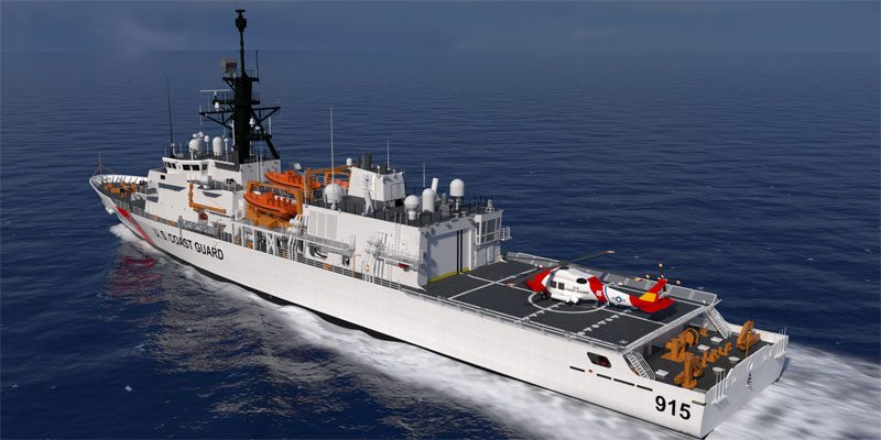 concept design of the VARD 7 110 US Coast Guard Offshore Patrol Cutter in water
