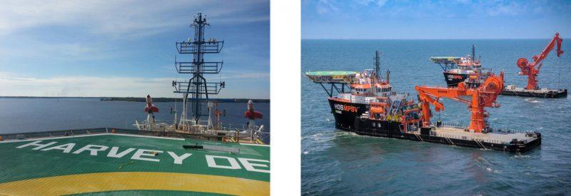 Offshore Construction Vessels (OCVs) VARD 3 310 Harvey Deep-Sea Multi-Purpose Support Vessel MPSV Offshore Support sailing past a port