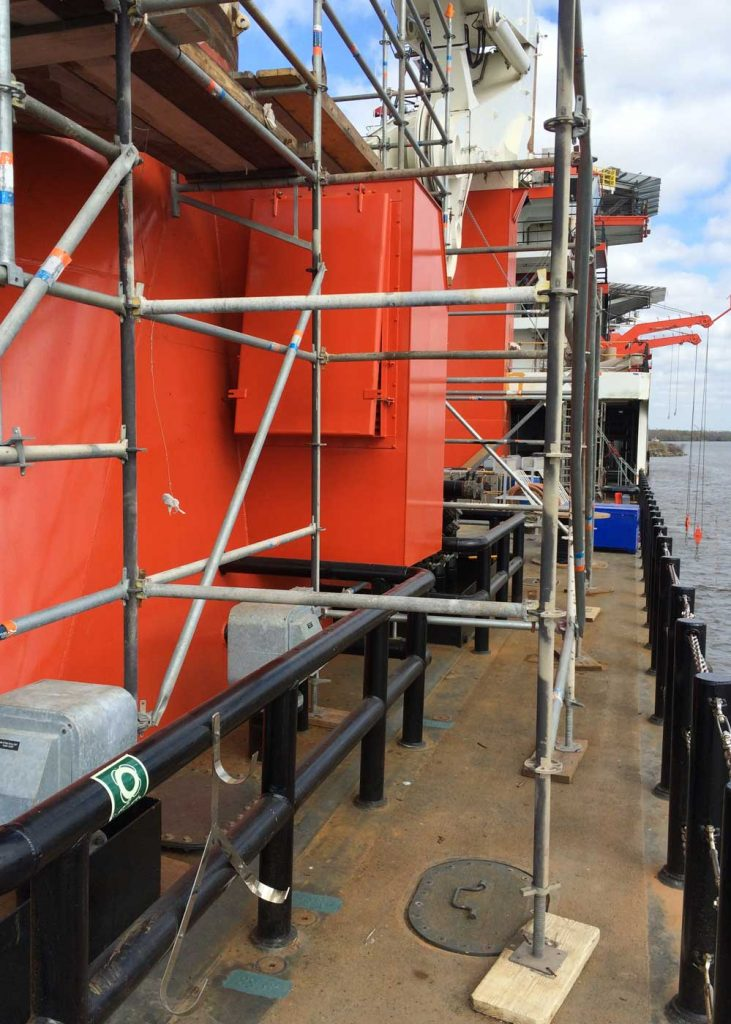 Ship refit of the HOS Warland VARD 3 300 side of vessel with scaffolding