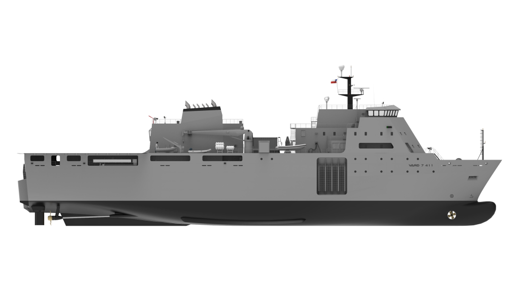 Vard 7 411 amphibious military sea transport vessel