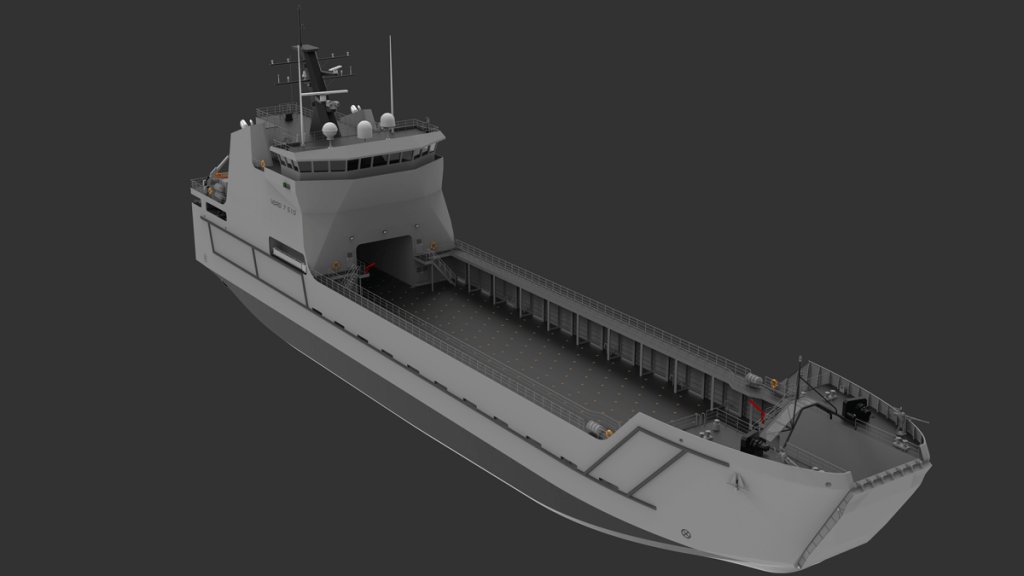 Rendering of Auxiliary Support Vessel VARD 7 510 LC Landing Craft